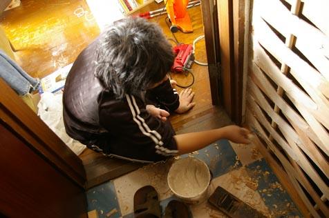 珪藻土を塗る