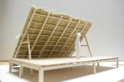 茅葺きのステージ模型