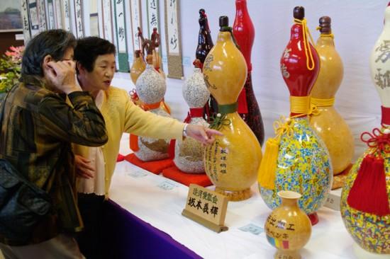 淡河町文化祭にて瓢箪を展示