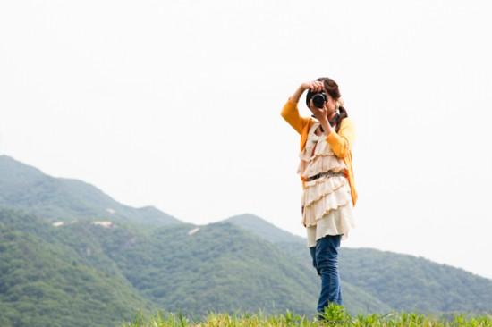 山とカメラ女子